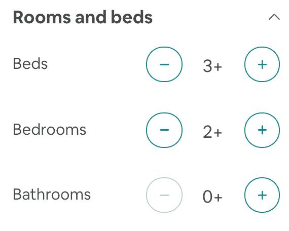 איירבנב למשפחות - מספר מיטות וחדרים