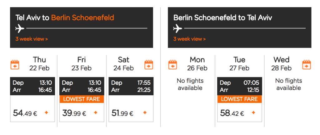 טיסות זולות איזיגט