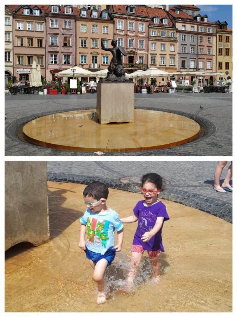 ורשה עם ילדים - בת הים בכיכר המרכזית