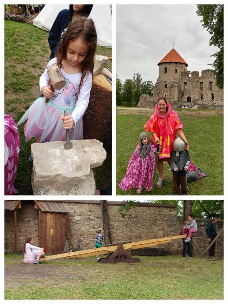 לטביה עם ילדים - פסטיבל ימי הביניים בטירת צסיס