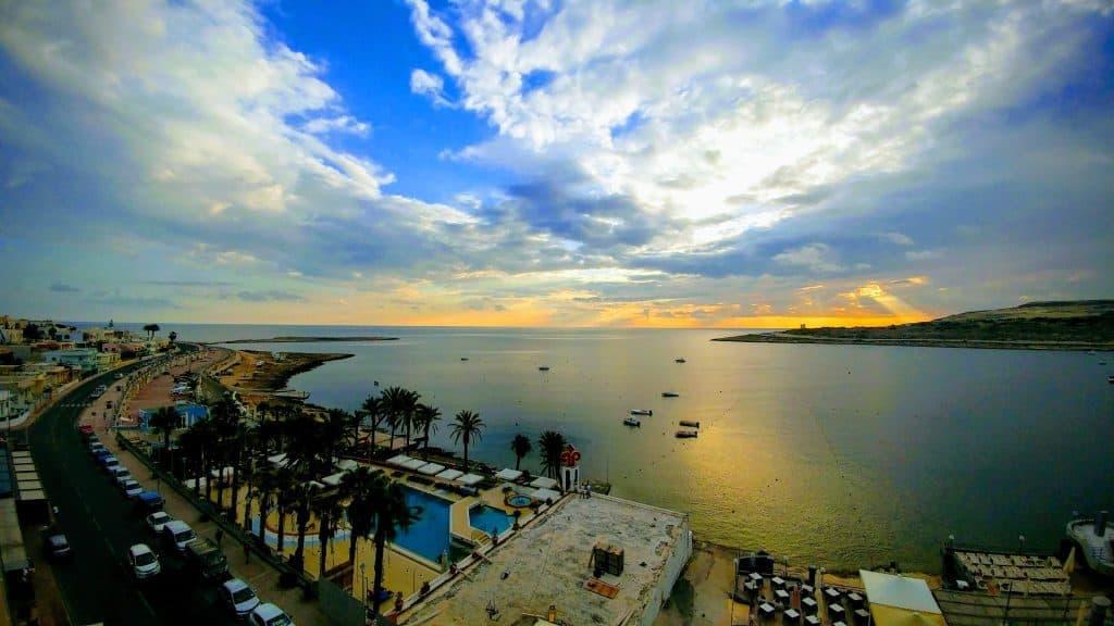 הנוף מהמרפסת ב-Seashells Resort מוקדם בבוקר