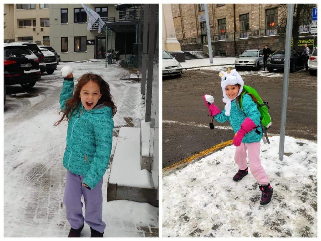 ליטא עם ילדים - כדורי שלג