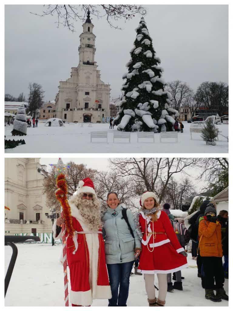 קובנה עם ילדים - שלג ב-Town Hall Square