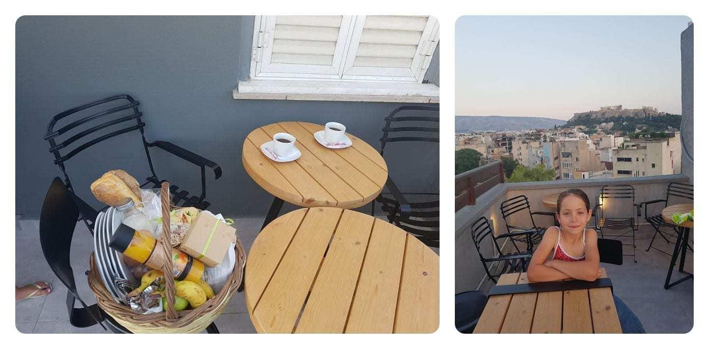 נוף הגג והארוחה במלון הדירות A.P. Acropolis View Apartments